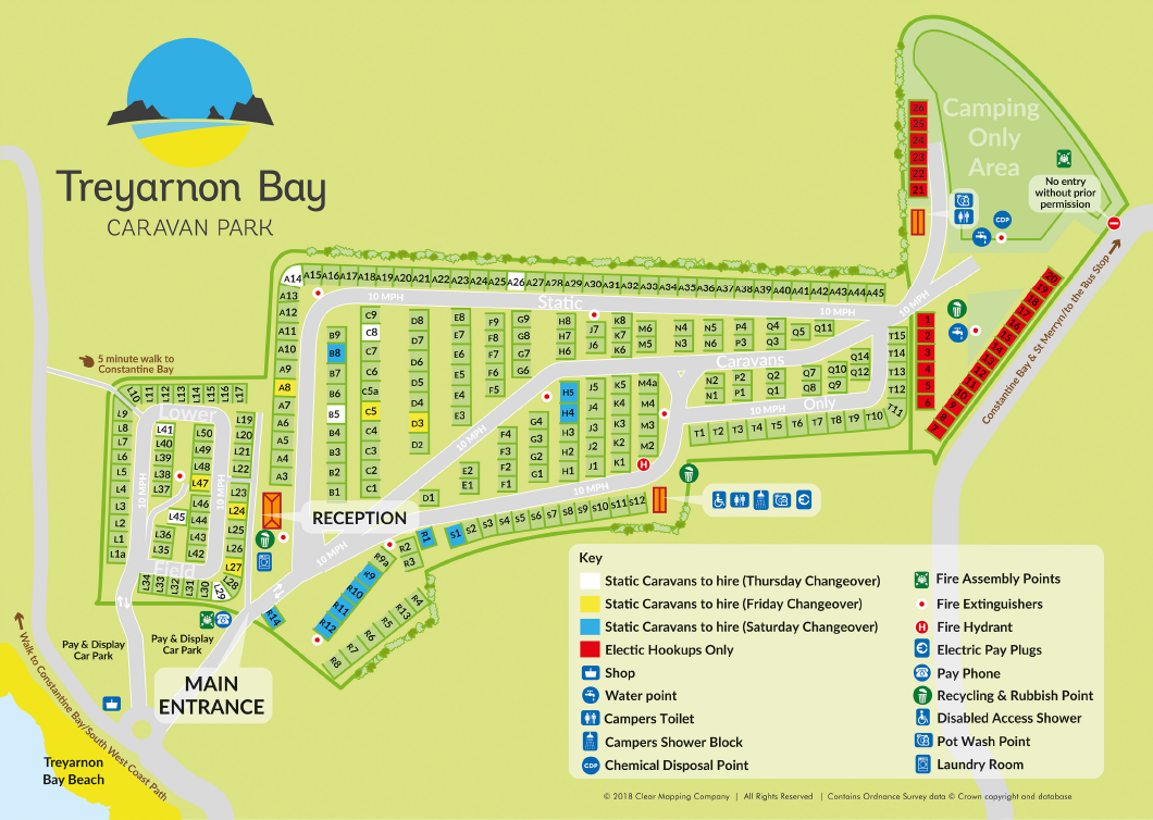 Treyarnon Bay Caravan Park Pitch Map